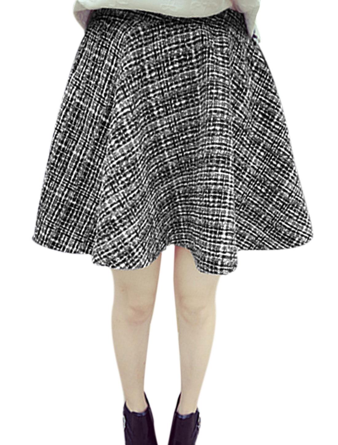 Women Natural Waist Zip Up Back Design Full Skirt Black White XS