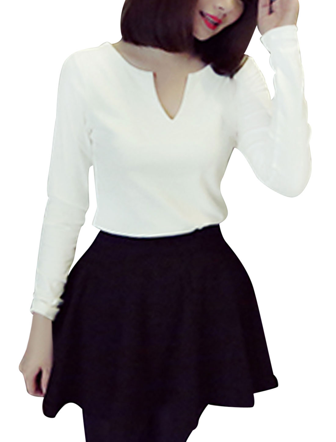 Ladies Long Sleeves Pullover Slim Fit White Casual Shirt XS