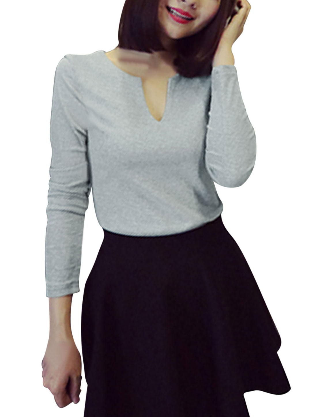 Woman Split Neck Full Sleeves Slim Fit Light Gray Casual Shirt XS