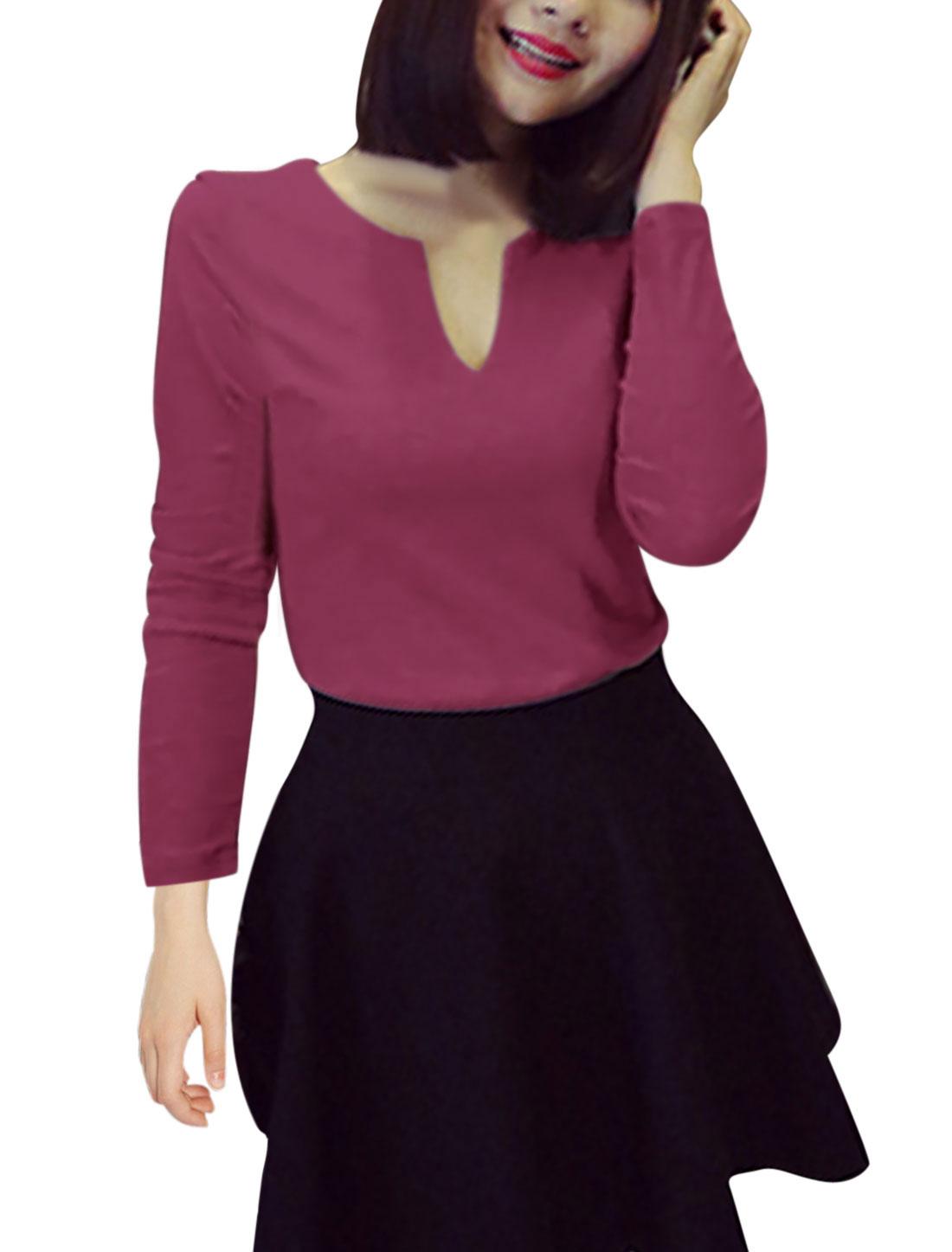 Full Sleeves Split Neck Slipover Dark Purple Casual Shirt for Lady XS