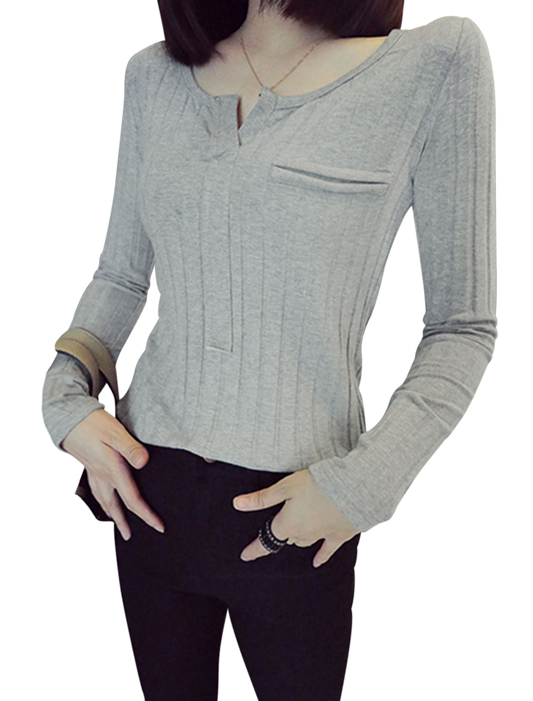 Ladies Long Sleeves Slipover Stripes Design Gray Shirt XS