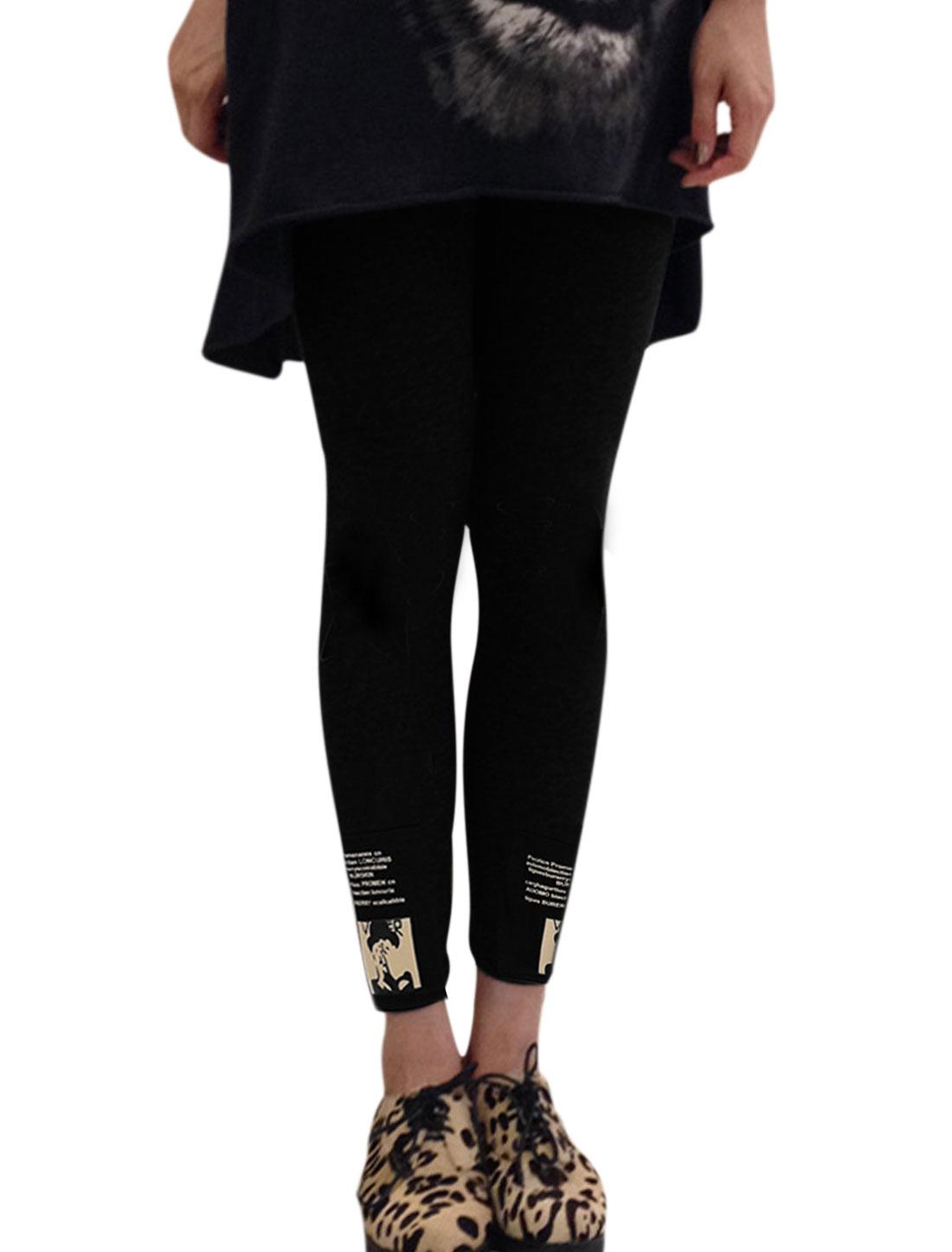 Women Portrait Prints Cuffs Elastic Waist Leggings Black XS