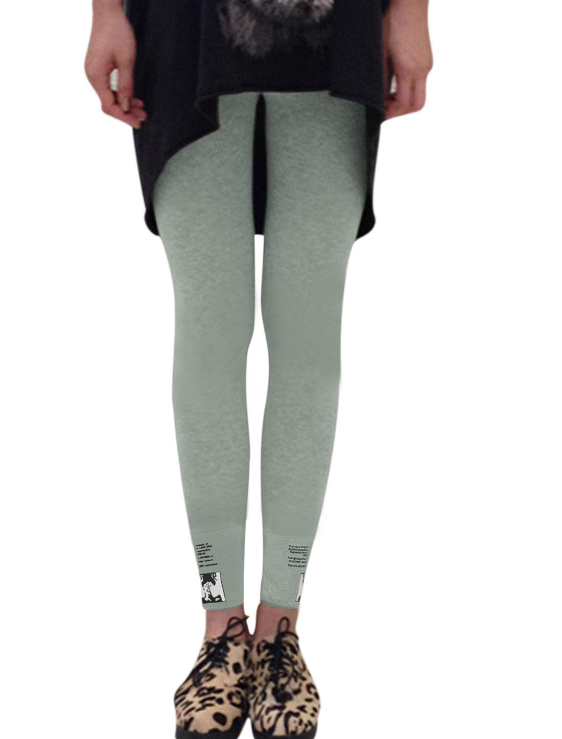 Ladies Portrait Letters Prints Slim Fit Light Gray Leggings XS