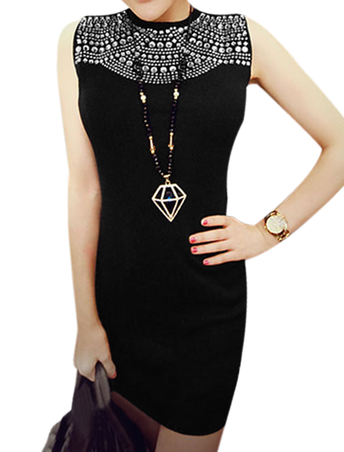 Ladies Black Rhinestones Embellished Zipper Back Sleeveless Dress S