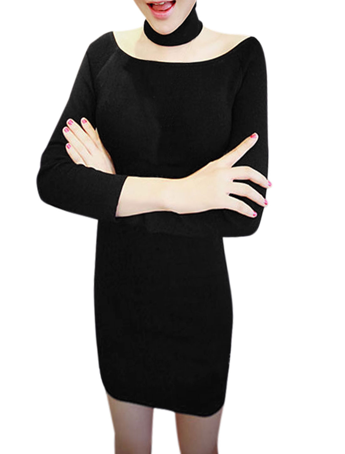 Women Boat Neck Long Sleeve Casual Sheath Dress Black M