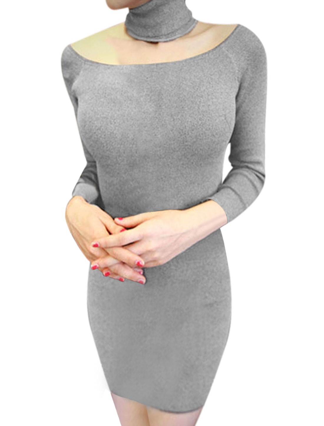 Women Boat Neck Long Sleeves Mini Fashion Sheath Dress Light Gray M