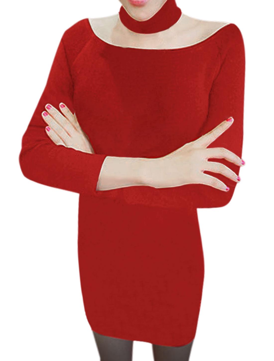 Women Long Sleeve Boat Neck Pullover Leisure Sheath Dress Warm Red M