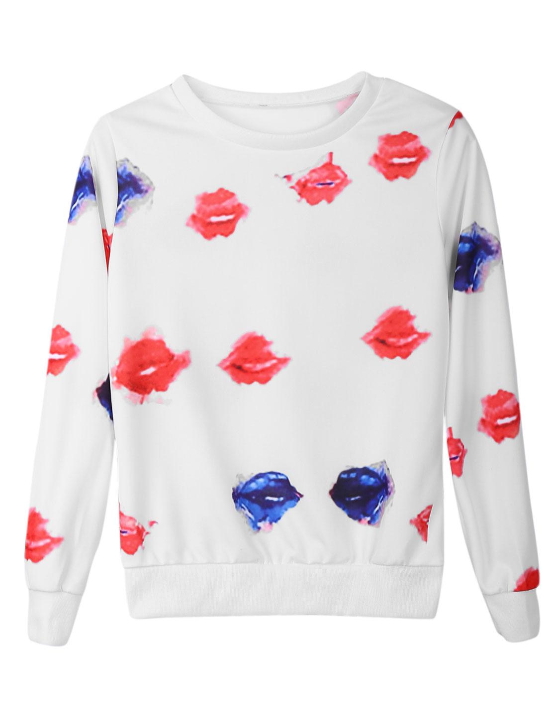 Women Round Neck Long Sleeves Lips Pattern Pullover Stylish T-Shirt White XS
