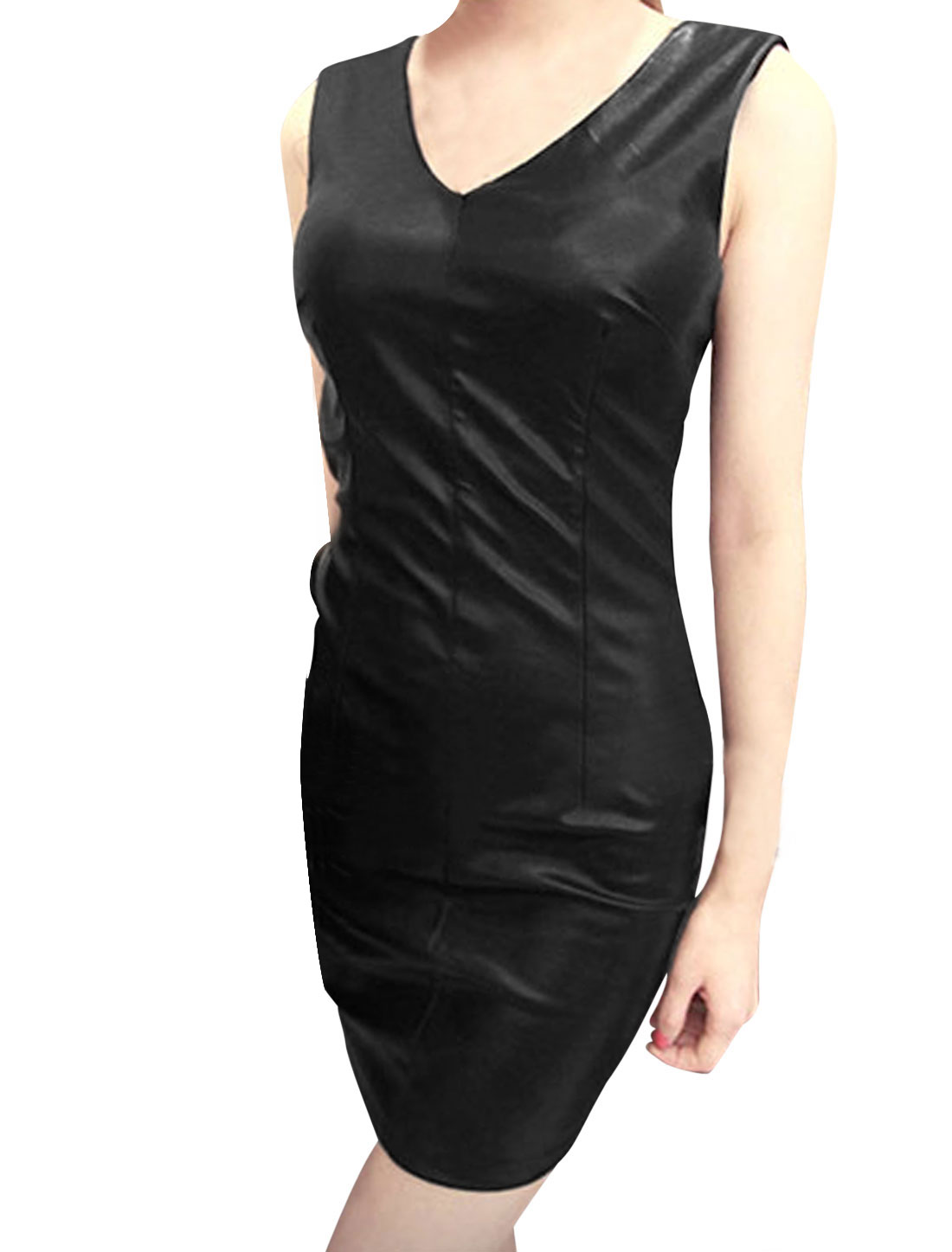 Women V Neck Sleeveless Pleated Detail Chic Imitation Leather Dress Black XS