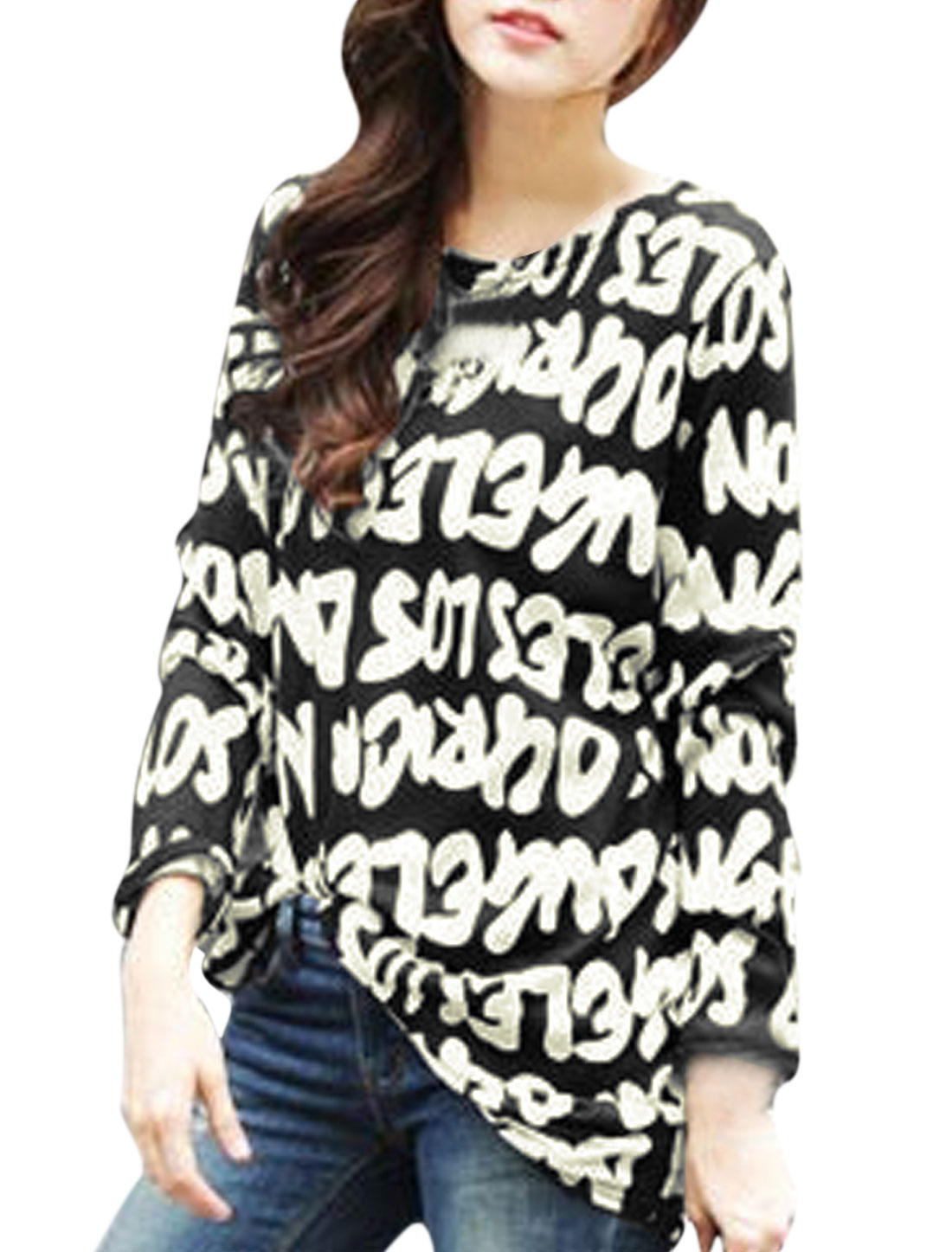 Women Letters Pattern Shirred Sides Tunic Knit Top Black S