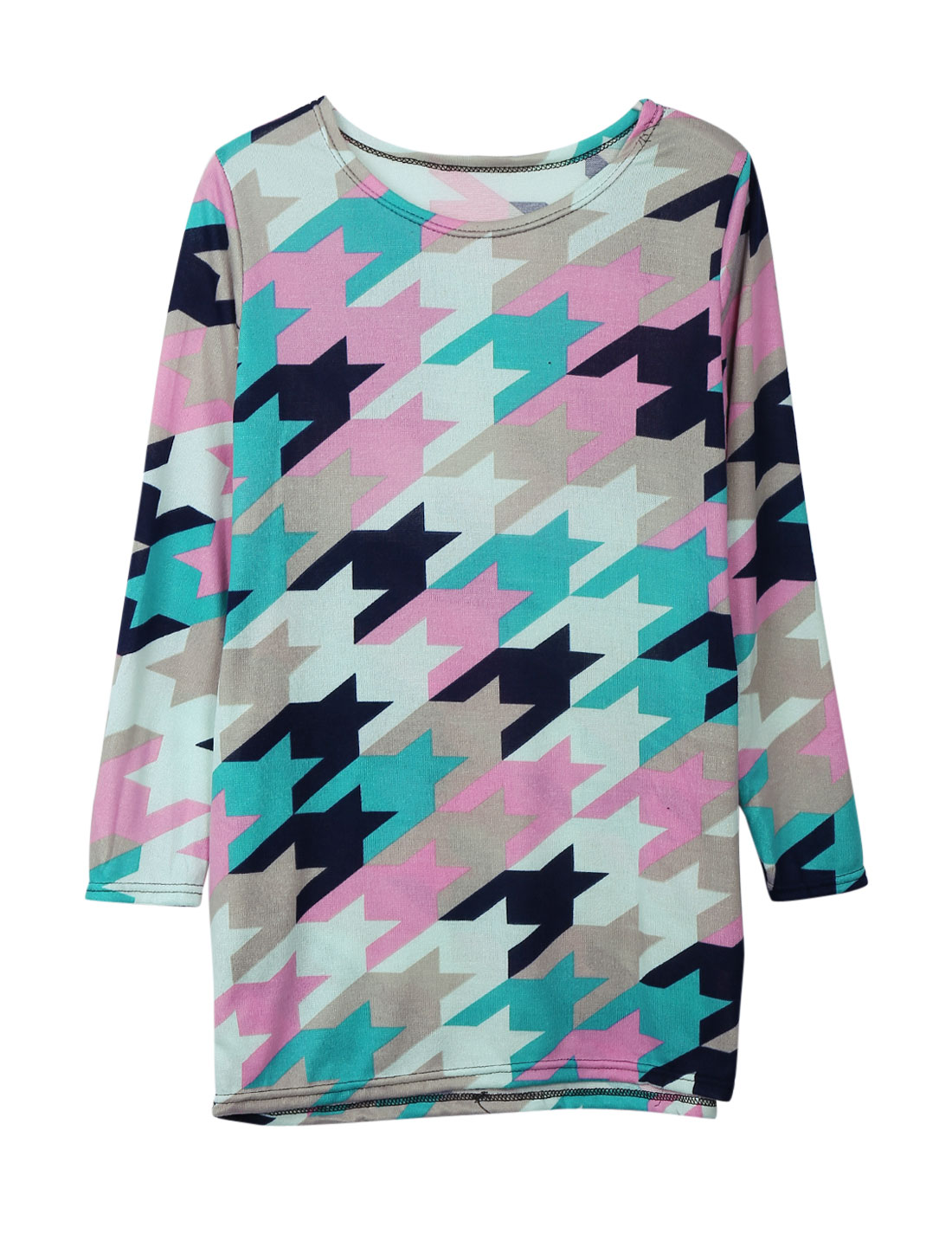 Ladies Multicolor Houndstooth Pattern Pullover Color Block Tunic Knit Shirt S