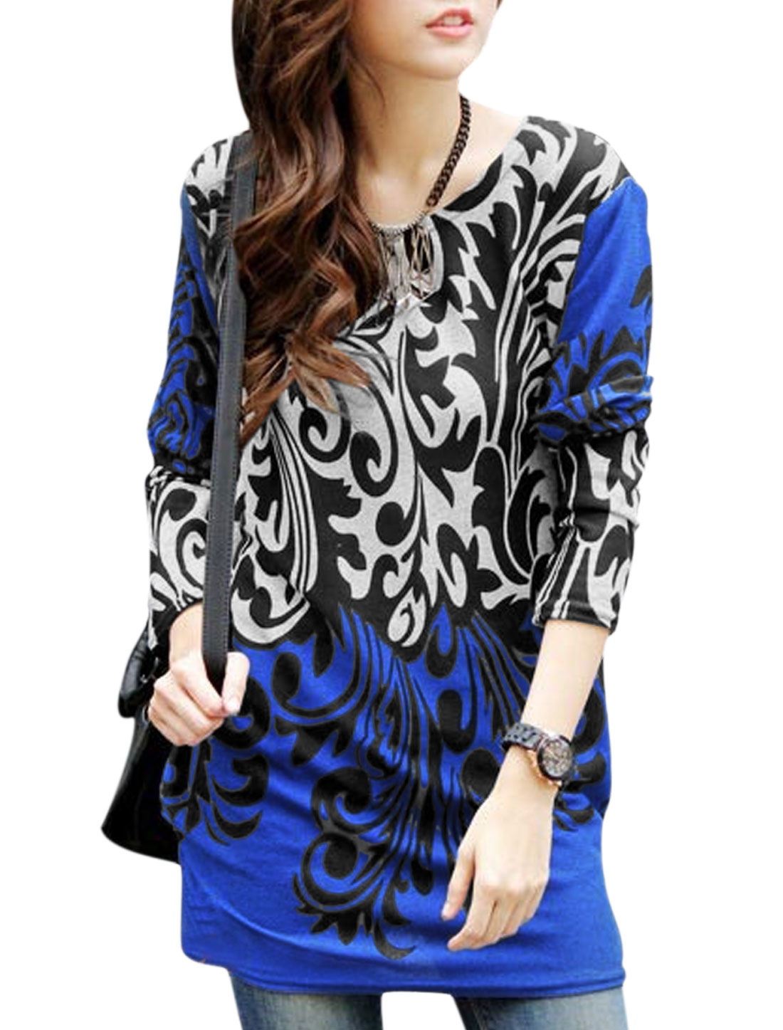 Women Jacquard Pattern Shirred Sides Tunic Knit Shirt Blue Black S