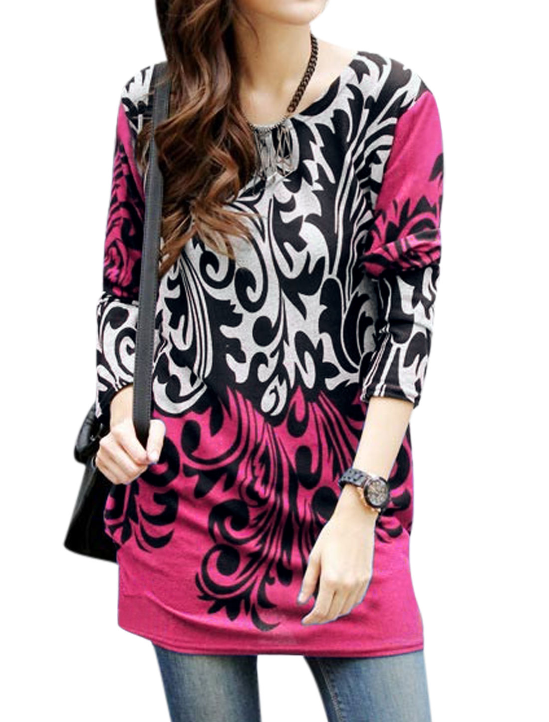 Lady Black Fuchsia Novelty Prints Pullover Loose Shirred Sides Tunic Knit Shirt S