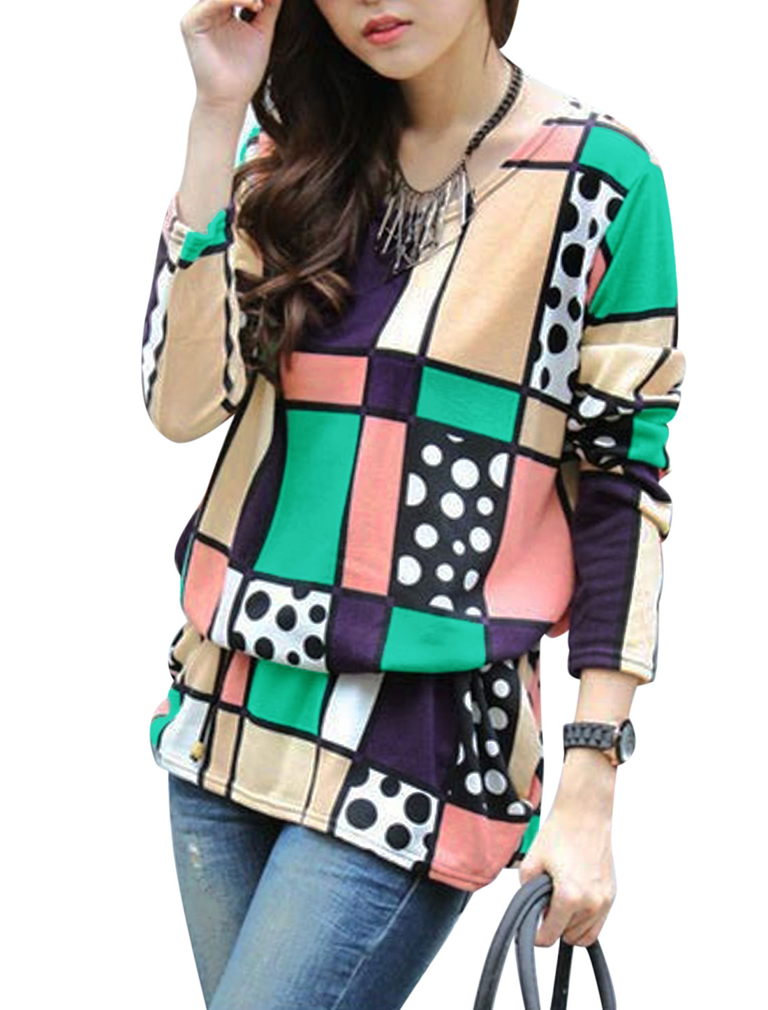 Ladies Multicolor Geometric Dots Prints Pullover Contrast Color Tunic Knit S