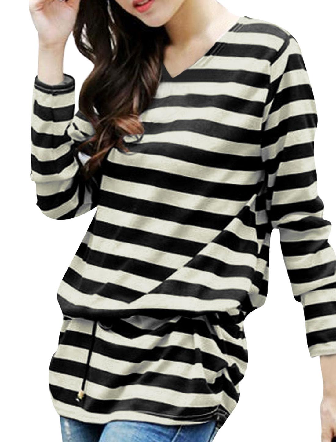 Women Stripes Shirred Sides Tunic Knit Top w Waist String Black Beige S