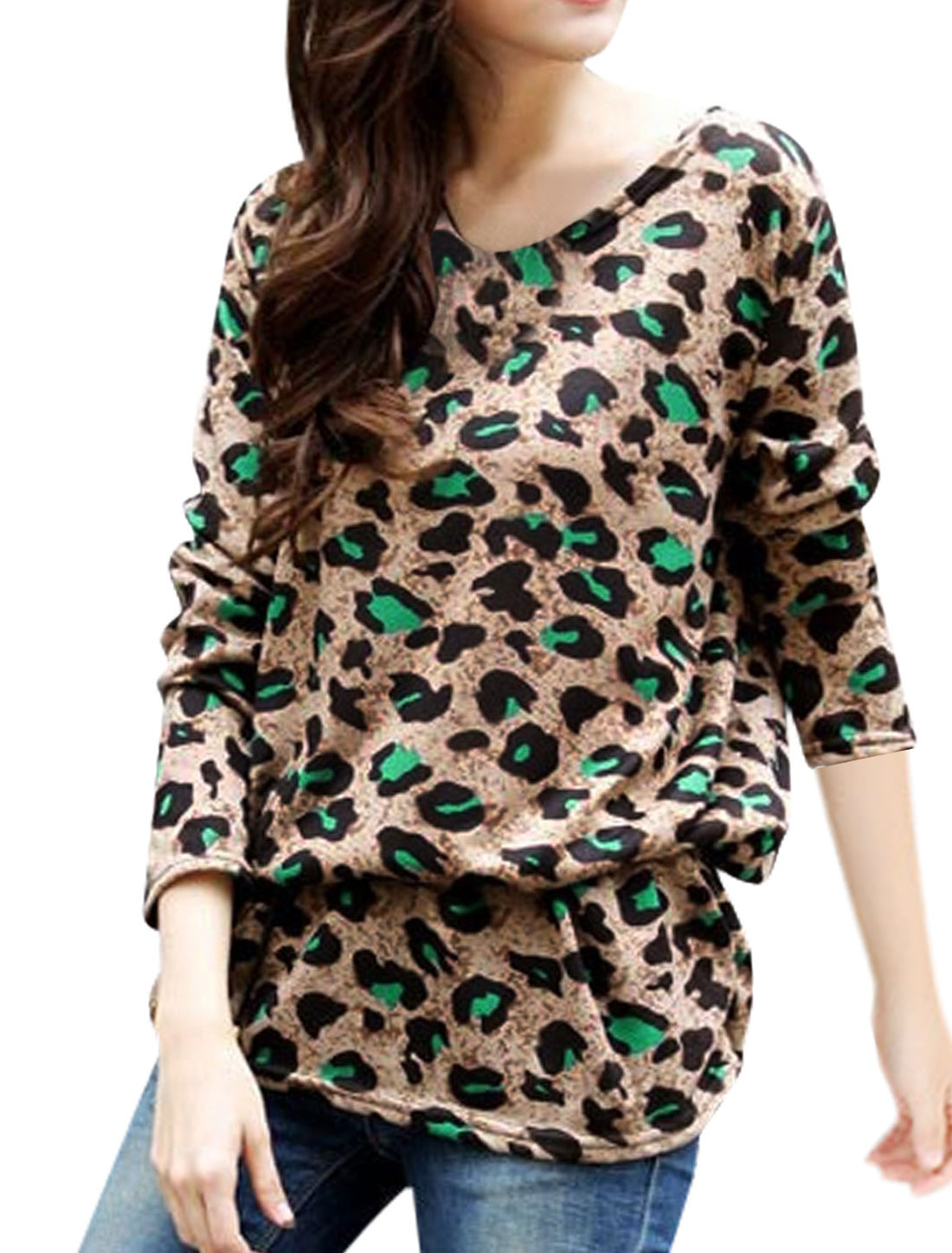 Ladies Amber Leopard Prints Pullover Shirred Sides Waist String Tunic Knit Shirt S