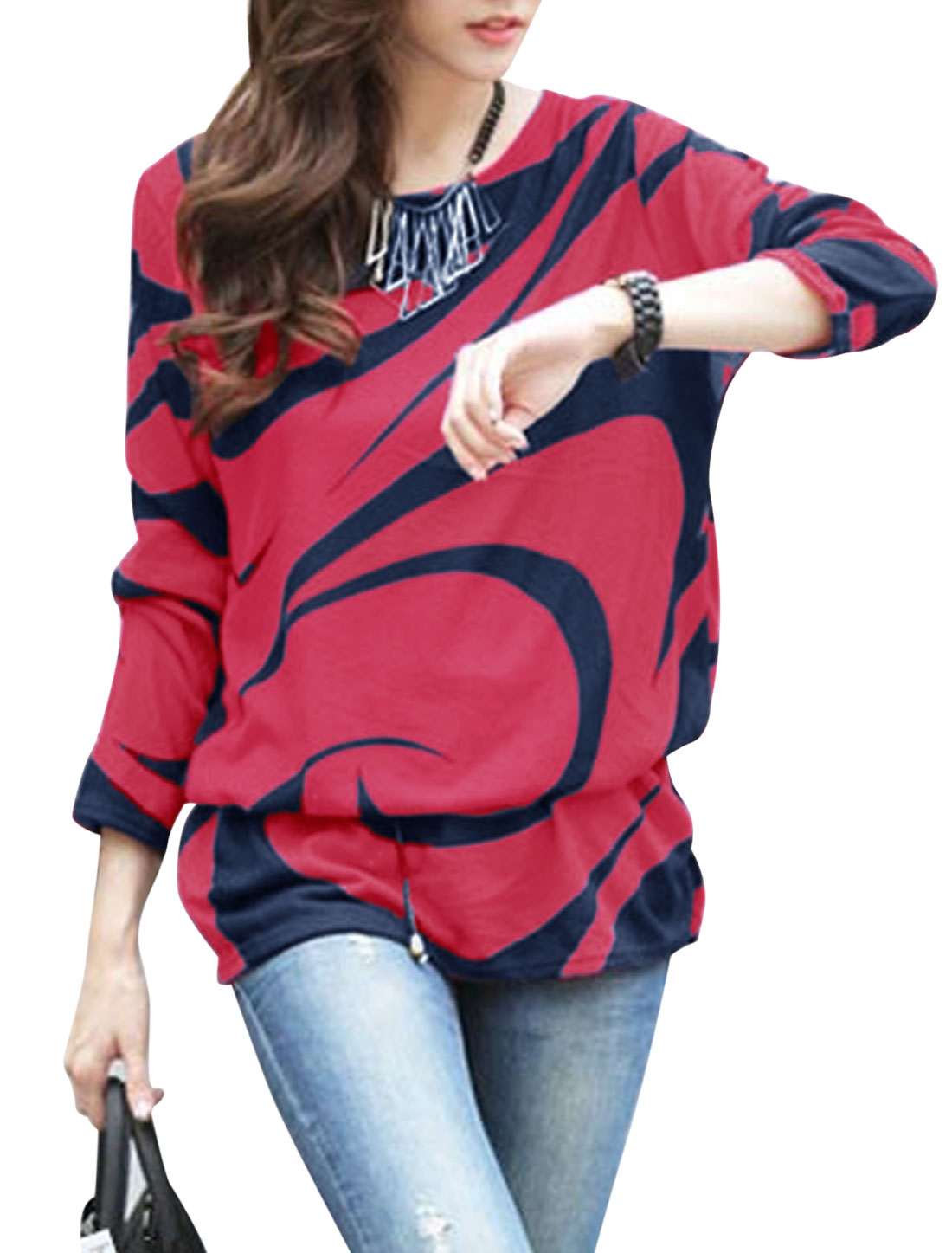 Ladies Fuchsia Novelty Prints Pullover Contrast Color Tunic Knit Shirt S