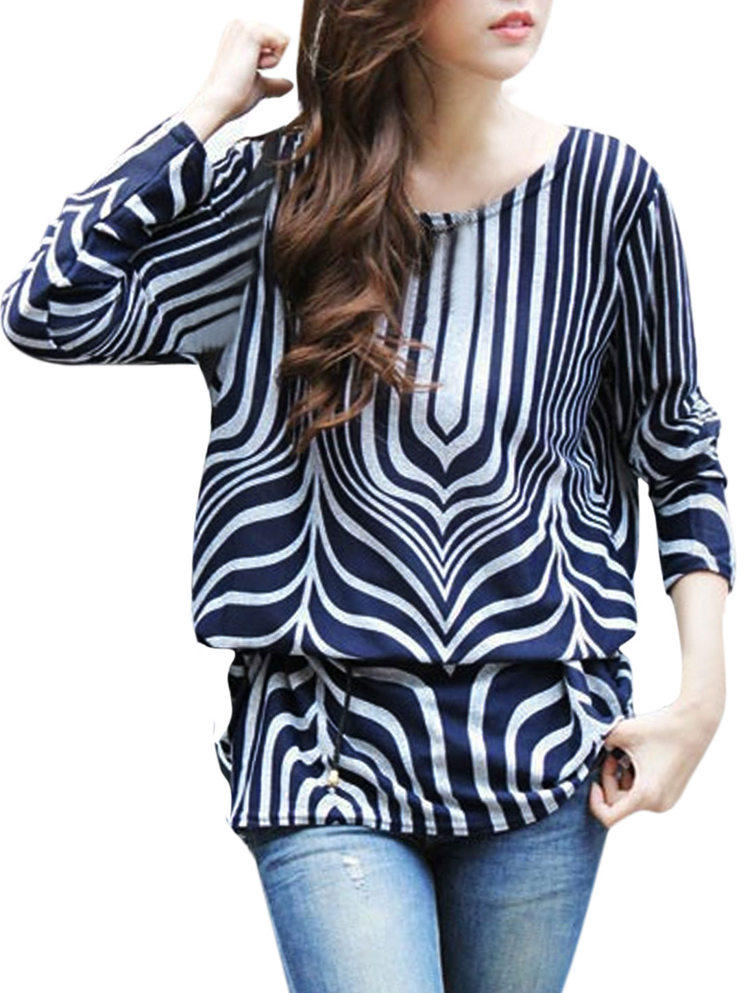 Ladies Stripes Shirred Sides Tunic Knit Shirt w Waist String Navy Blue S