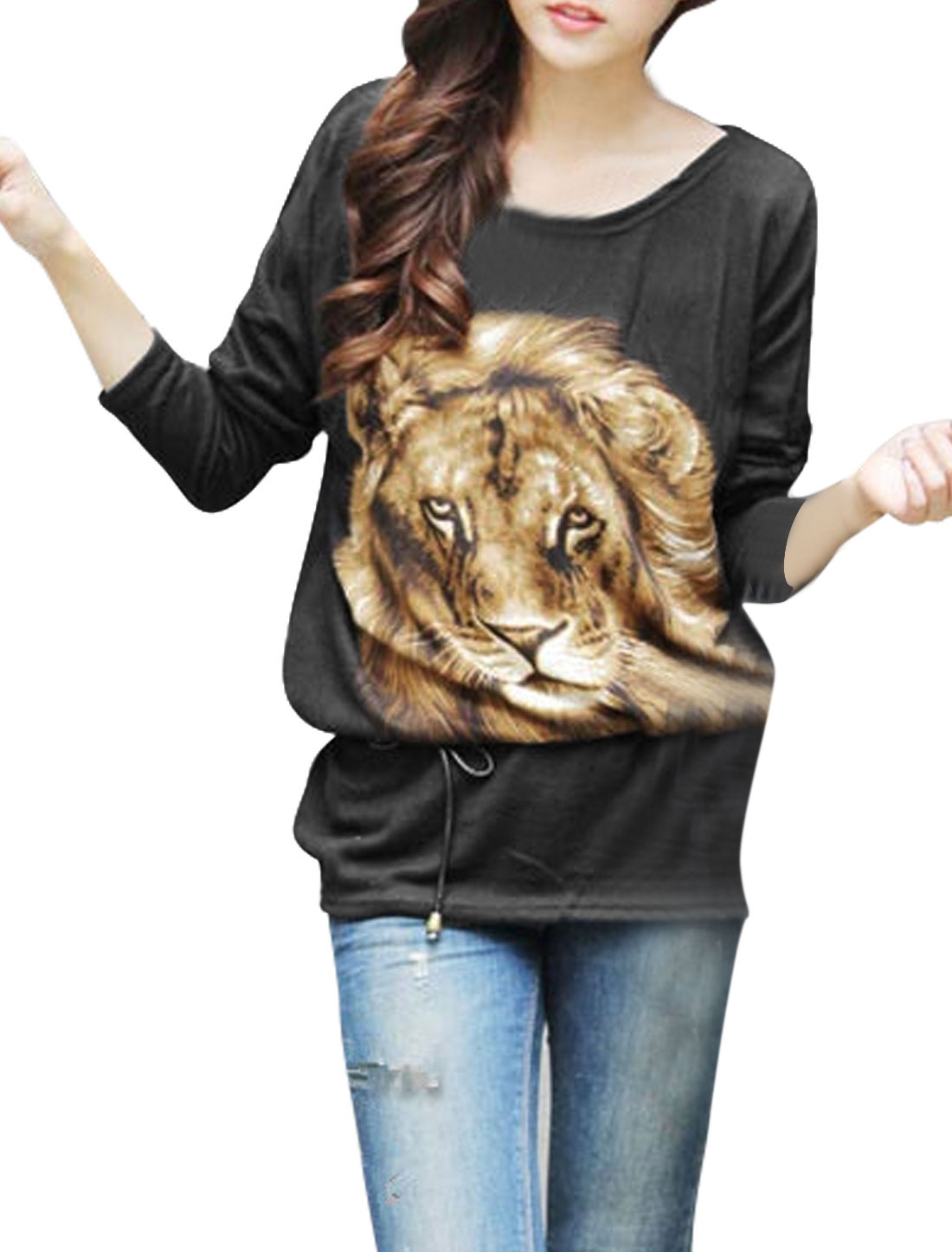 Women Round Neck Bat Sleeves Lion Pattern Casual Knit Blouse Black S