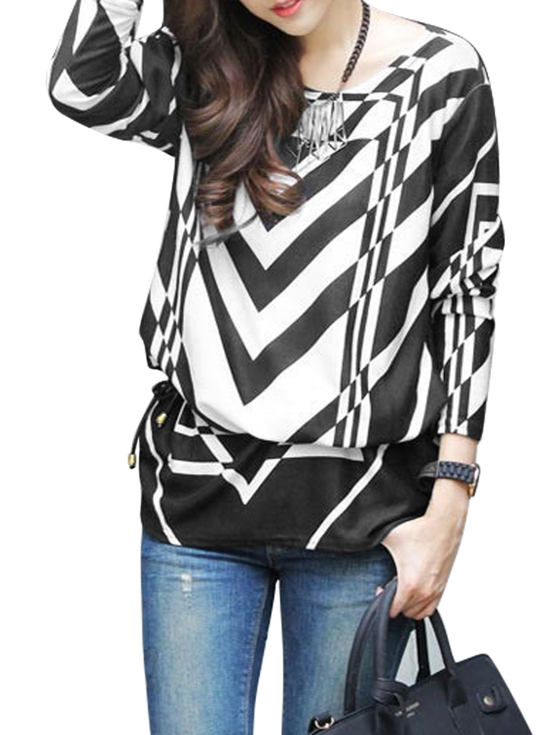 Ladies Black White Geometric Prints Pullover Waist String Tunic Knit Shirt S