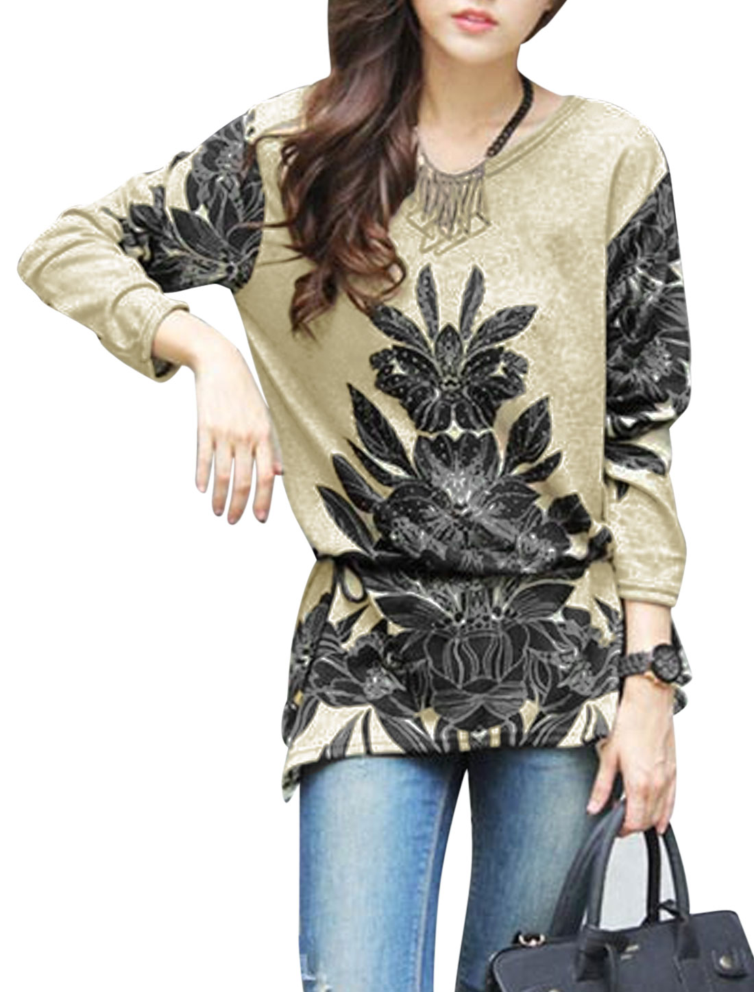 Ladies Khaki Black Floral Prints Pullover Waist String Tunic Knit Shirt S