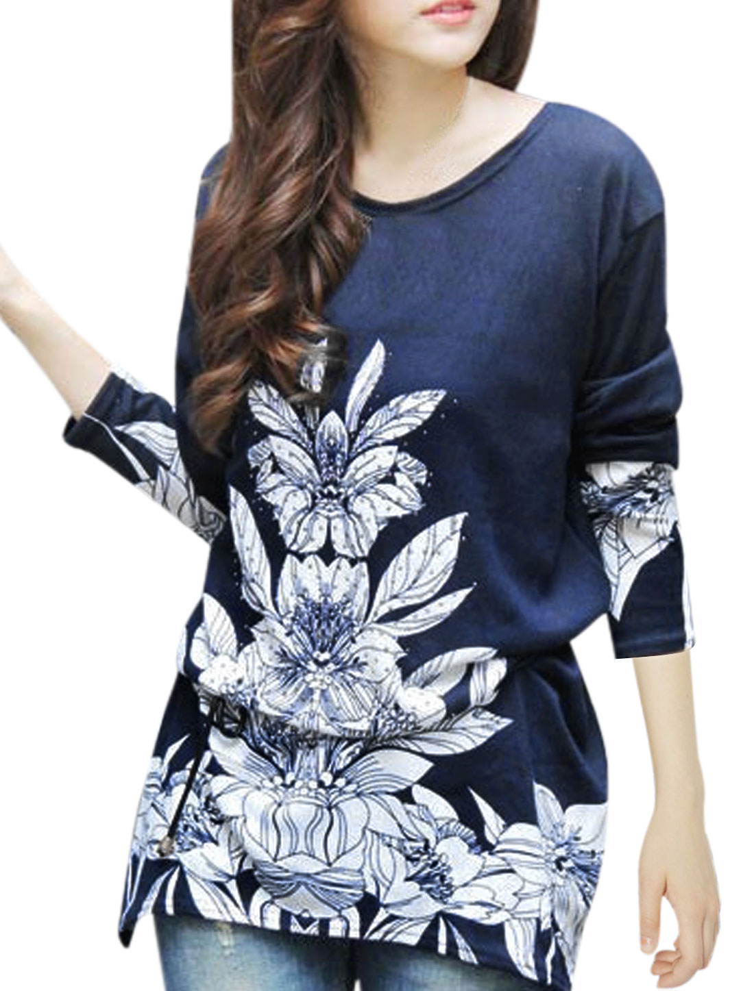 Ladies Navy Blue White Floral Prints Slipover Beads Decor Tunic Knit Shirt S