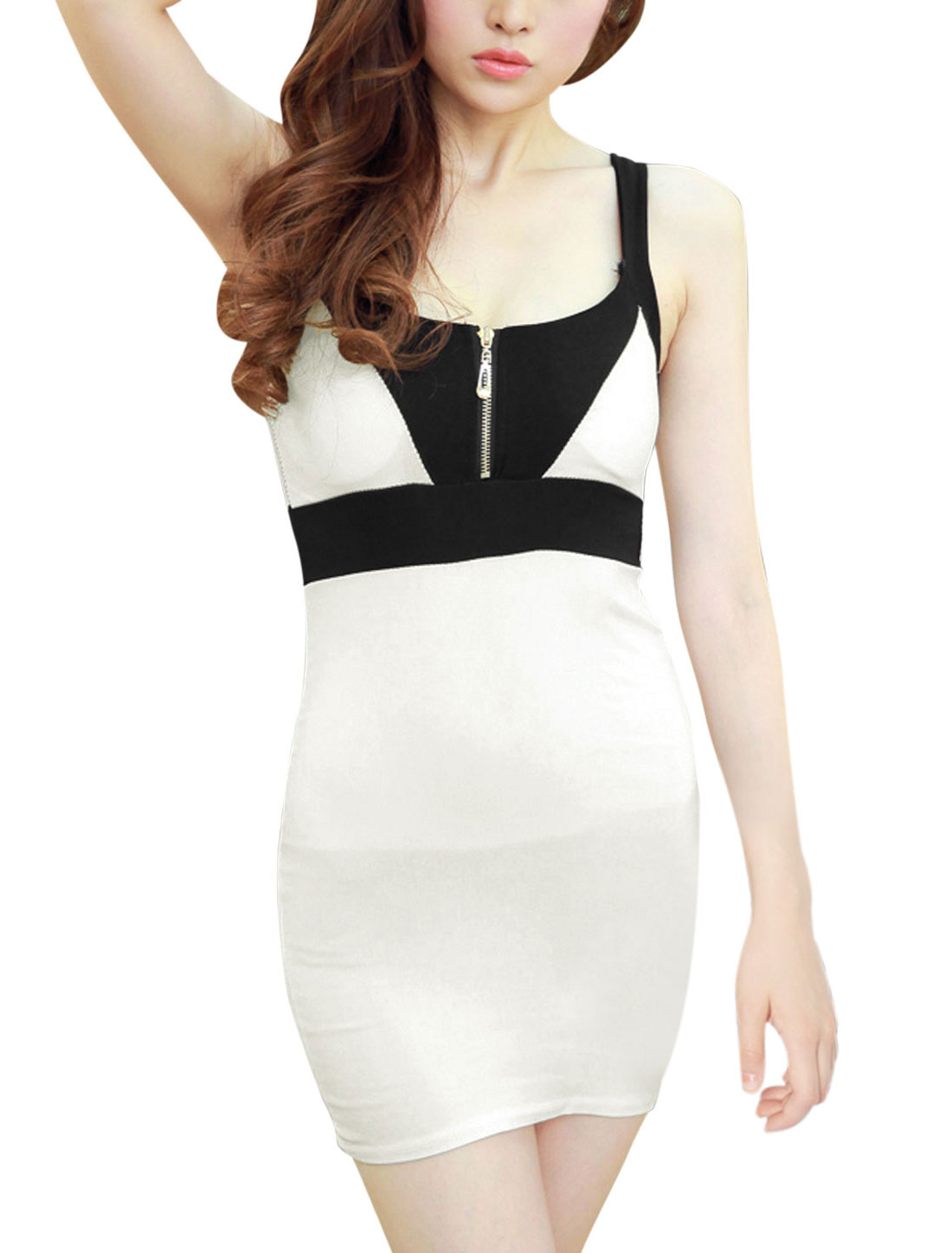 Women Color Blocked Sleeveless Pullover Strapes Stylish Sheath Dress White XS