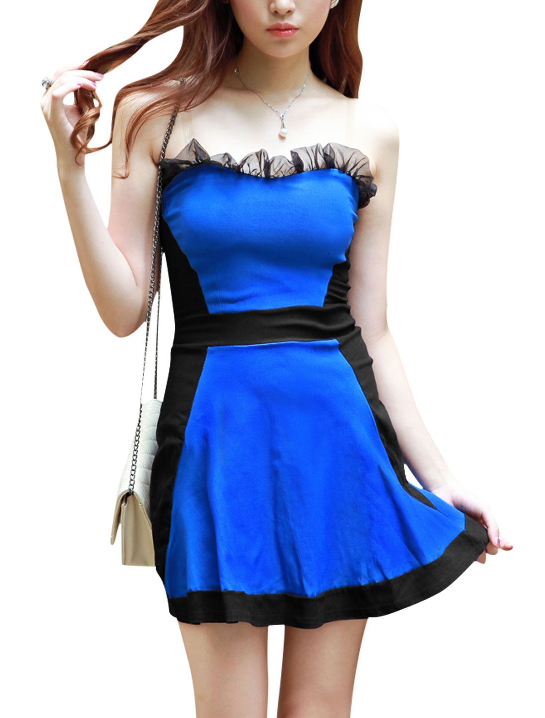 Women Color Block Strapless Club Wear Sexy Corset Dress Royal Blue S