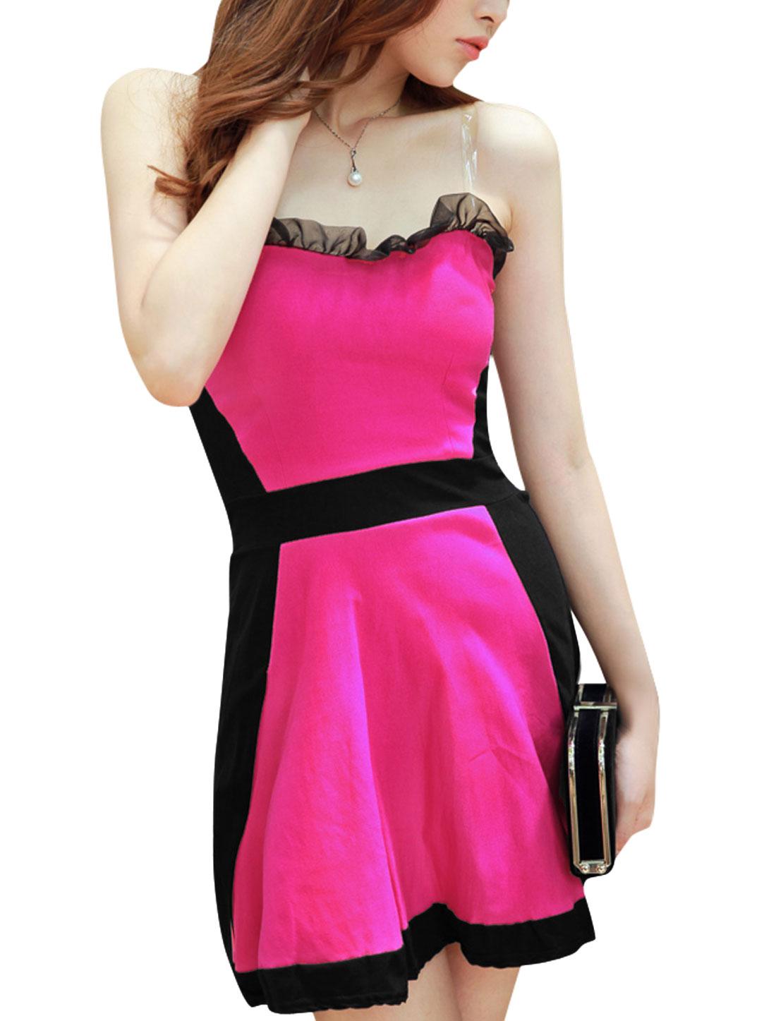 Ladies Ruffled Detail Panel Design Fuchsia Sheath Dress S