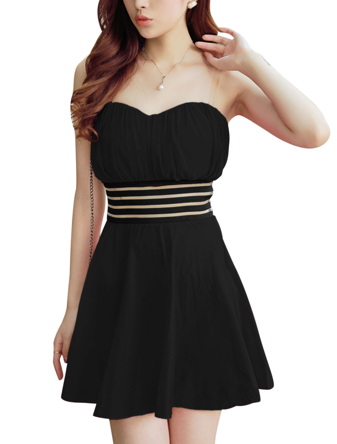 Ladies Black Pullover Elastic Waistband Padded Bust Unlined Corset Dress S