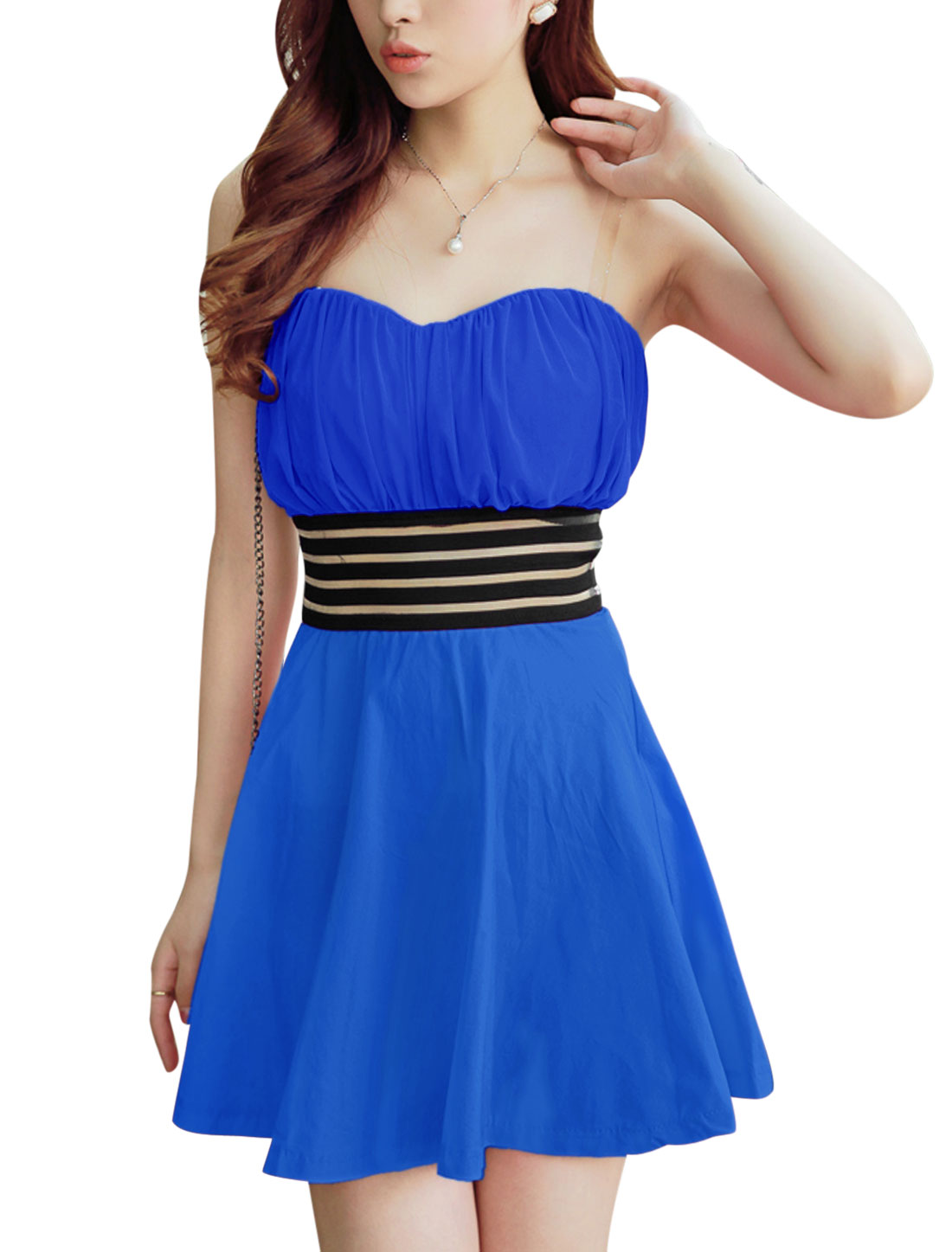 Ladies Blue Slipover Elastic Waistband Padded Bust Mesh Splice Strapless Corset Dress S