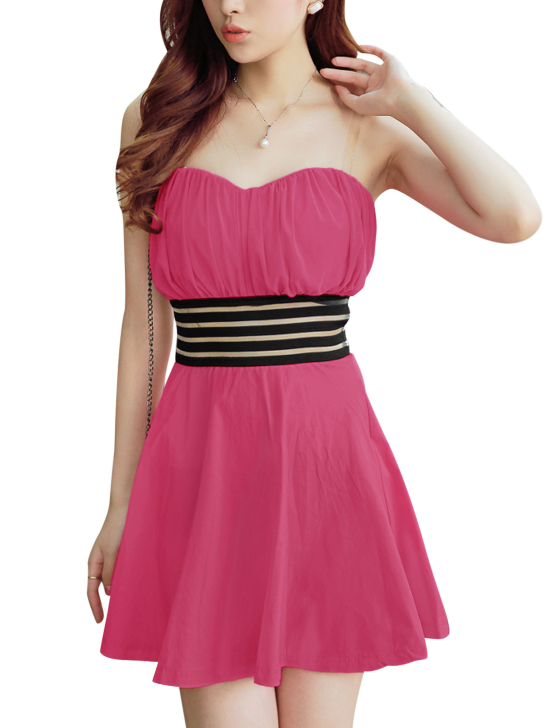 Ladies Fuchsia Slipover Sleeveless Elastic Waistband Padded Bust Corset Dress S