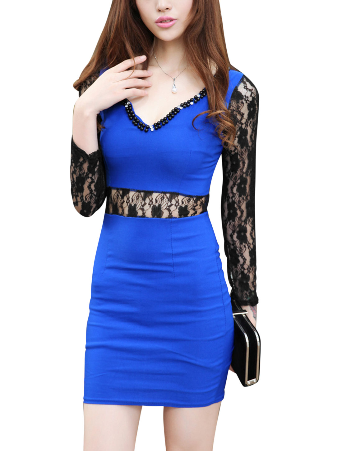Women Scalloped Neck Beaded Neckline Long Sleeves Stylish Sheath Dress Blue XS