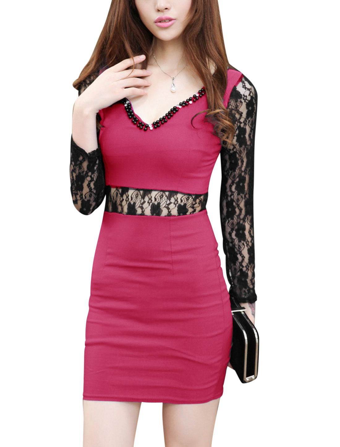 Women Scalloped Neck Lace Splicing Long Sleeves Sexy Sheath Dress Fuchsia XS