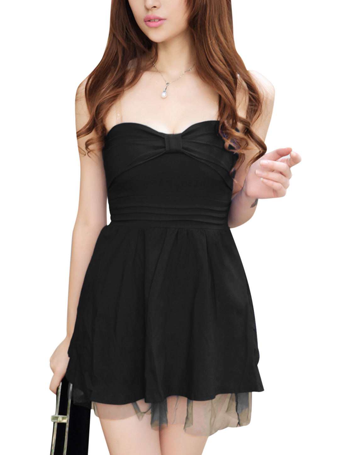 Ladies Black Lace-Up Back Sweetheart Neckline Mesh layered Hem Corset Dress XS