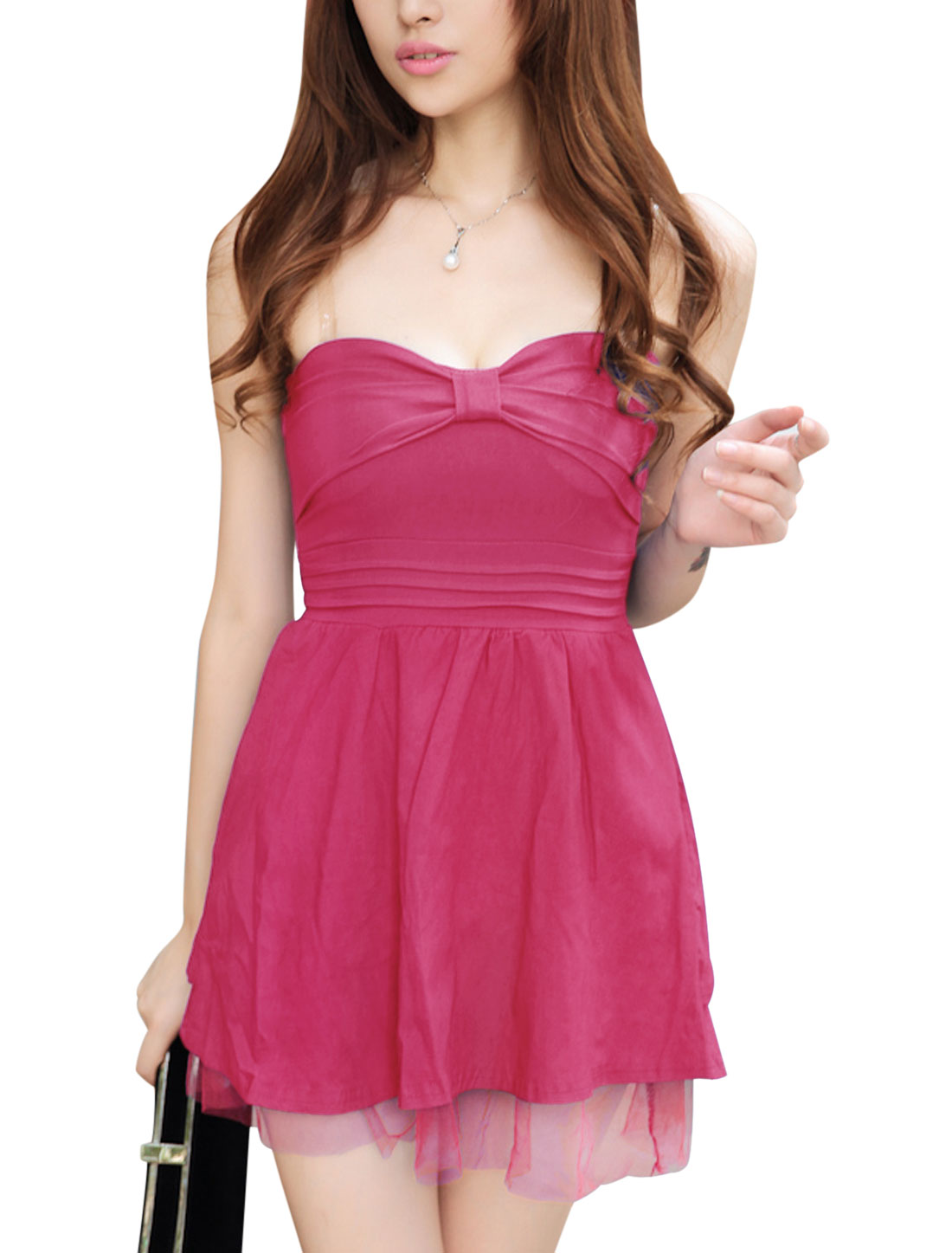 Ladies Fuchsia Lace-Up Back Mesh Splice Full Lined Corset Dress XS