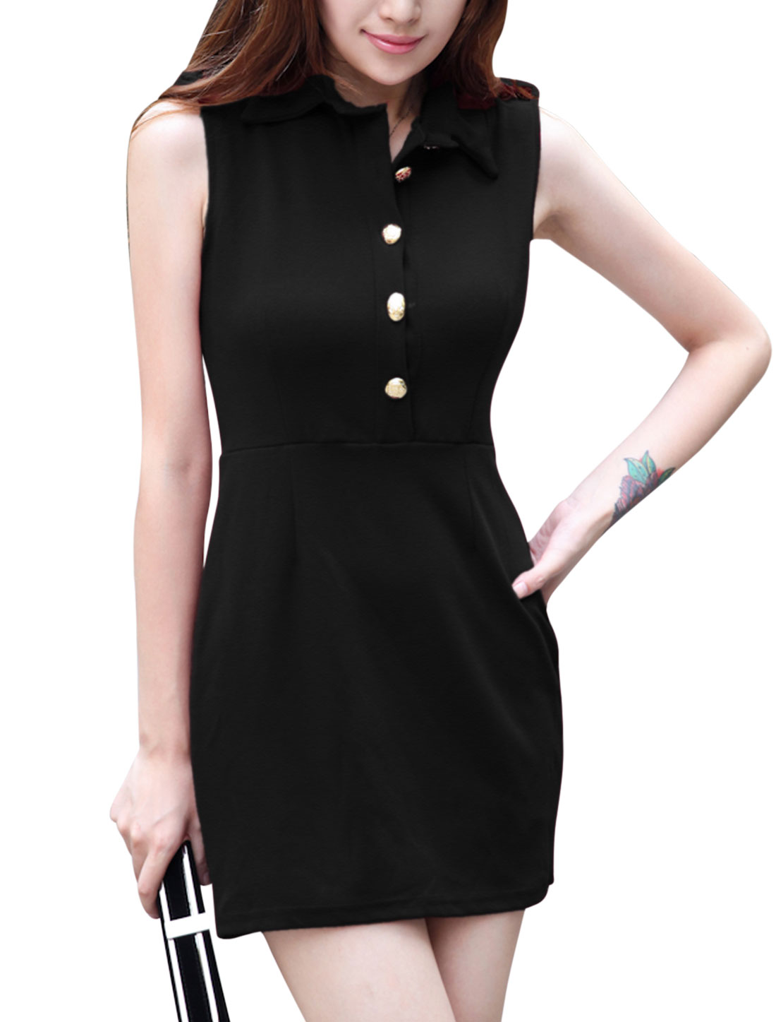 Women Turn Down Collar Half Button Closure Sleeveless Casual Dress Black S