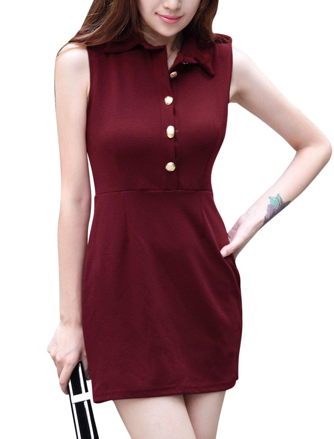 Women Turn Down Collar Multi Strapes Back Pullover Trendy Dress Burgundy S