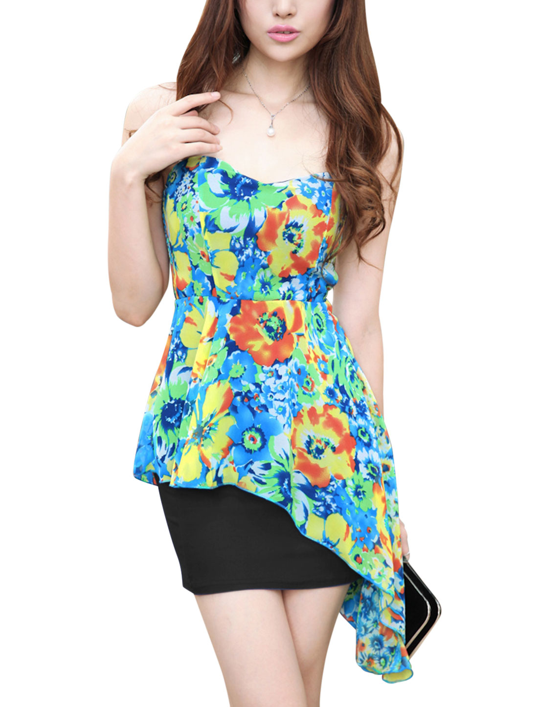 Women Black Chiffon Panel Floral Prints Strapless Peplum Dress XS