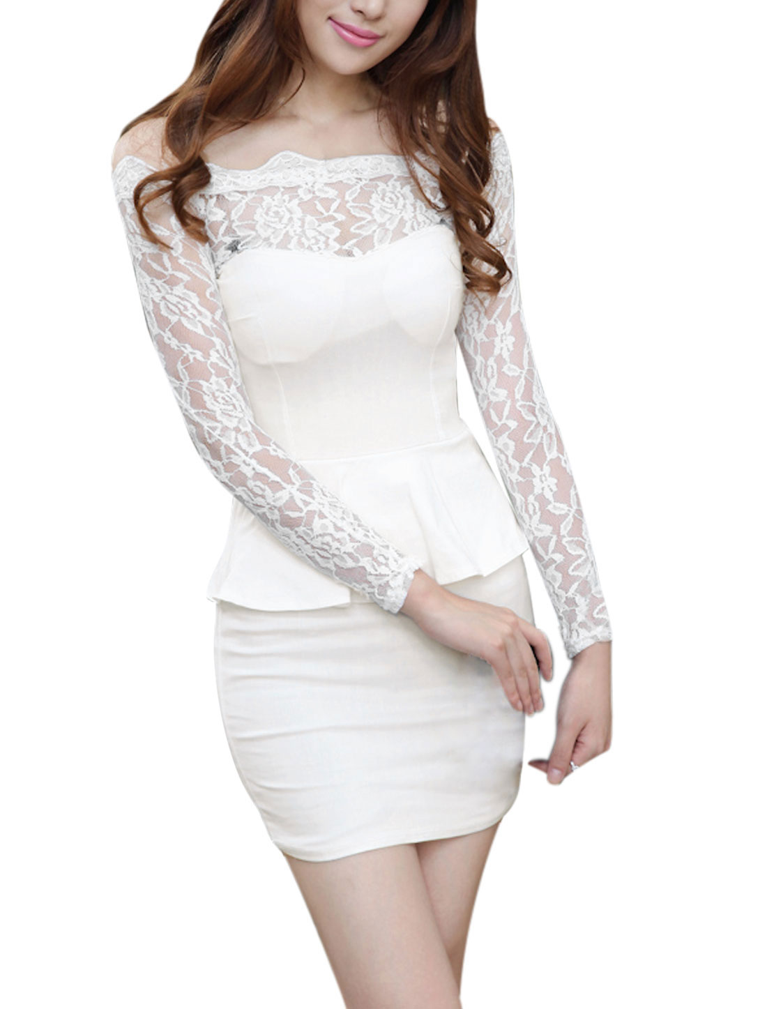 Ladies White Lace Splice Slipover Padded Bust Layered Slim Fit Dress XS