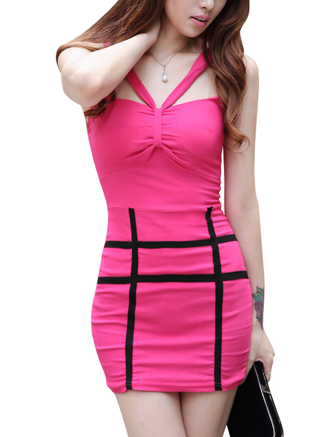 Women V Neckline Elastic Back Piped Design Sheath Dress Fuchsia XS
