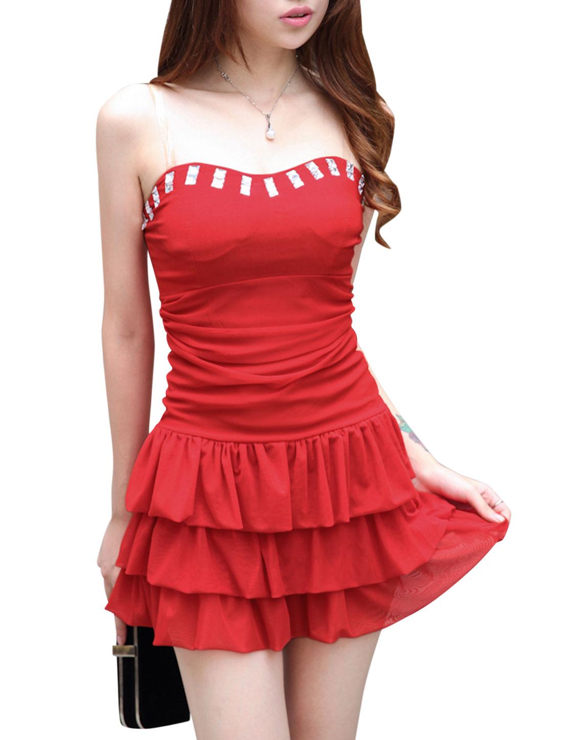 Women Sweetheart Neckline Sleeveless Mesh Panel Sexy Corset Dress Red XS