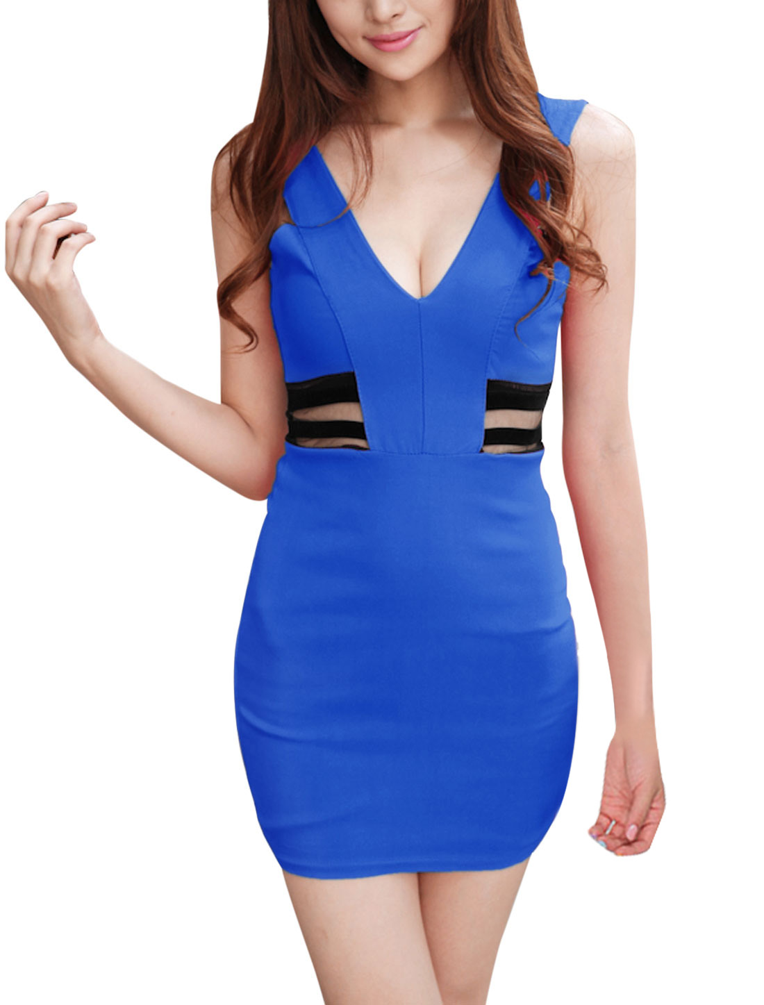 Ladies Club Wear Shoulder Straps Royal Blue Sheath Blue XS