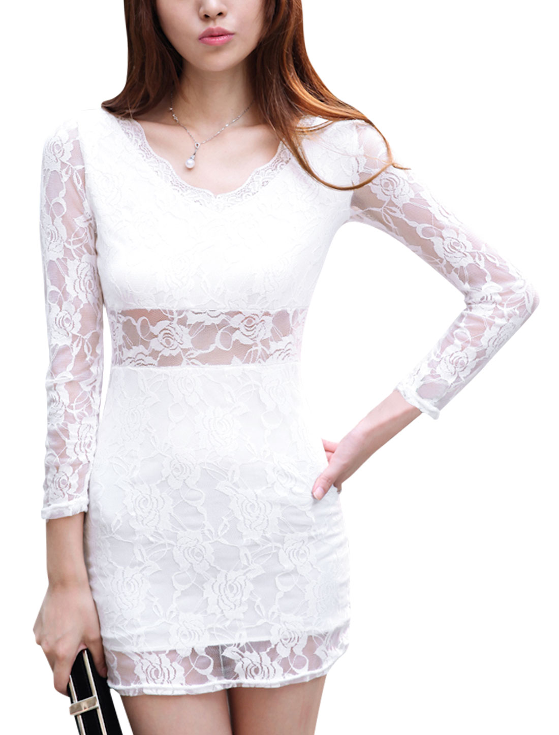 Women Long Sleeves V Neck Semi Sheer Sexy Sheath Dress White XS