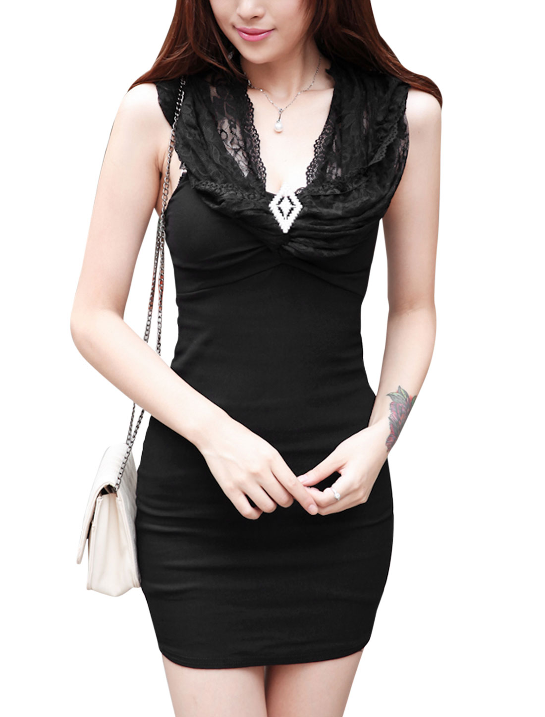 Women V Neckline Lace Panel Sleeveless Sexy Sheath Dress Black XS