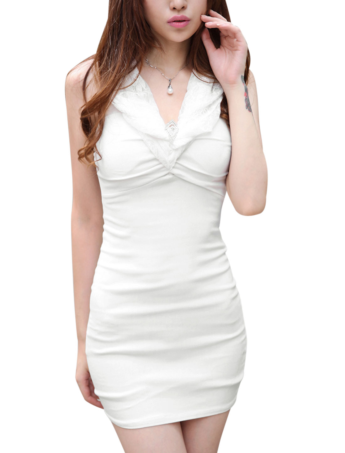 Women Multi Ways Wearing Lace Decor V Neckline Sexy Sheath Dress White XS