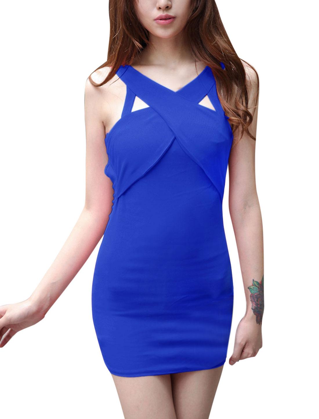 Ladies Club Wear Cut Out Detail Royal Blue Sheath Dress S