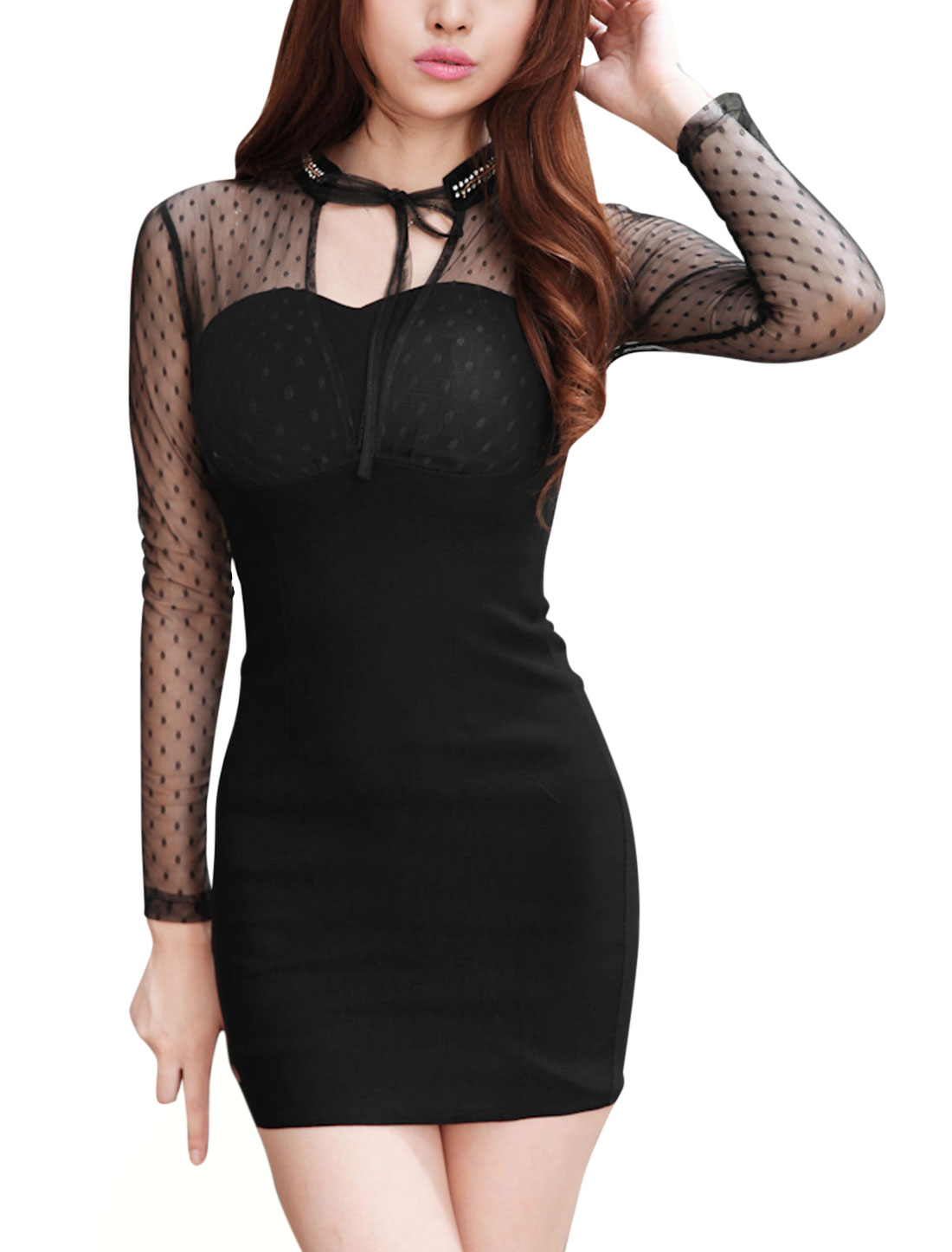 Women Mesh Panel Long Sleeves Slim Fit Sheath Dress Black XS