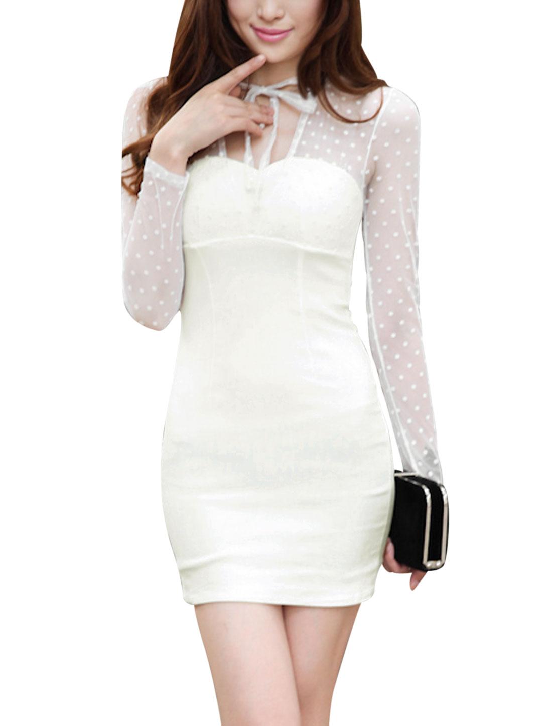 Ladies Cut Out Back Mesh Panel White Sheath Dress XS