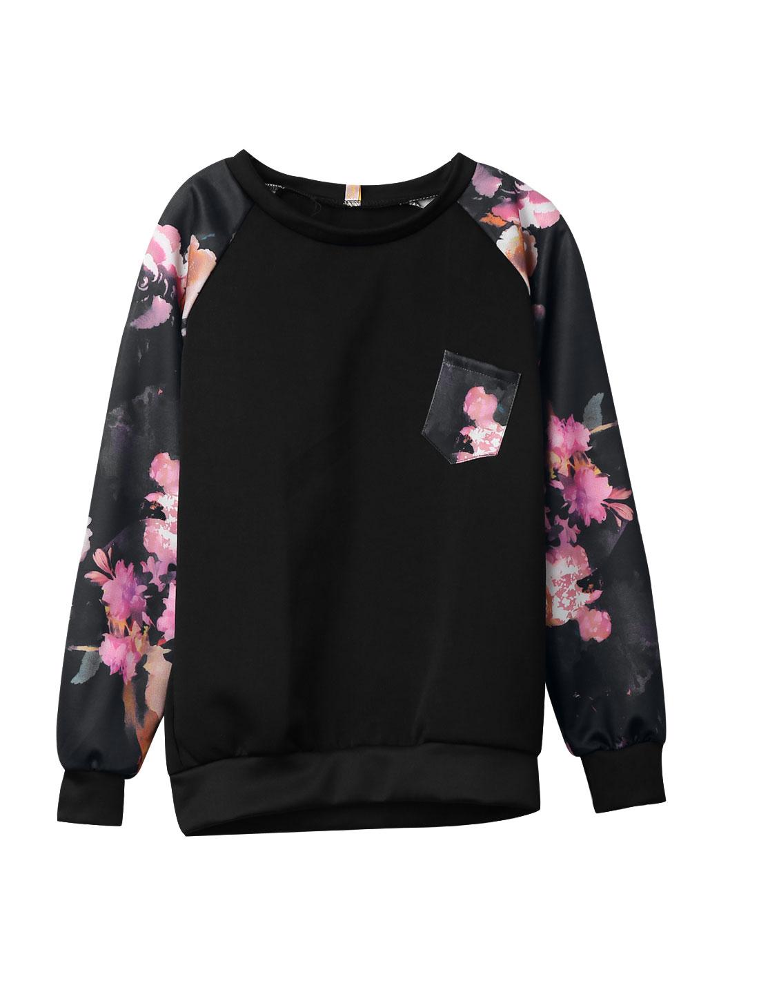 Ladies Black Pullover Floral Prints One Bust Pocket Raglan Sleeves Sweatshirt XS